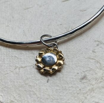 Silver And Gold Sunflower Charm Bangle