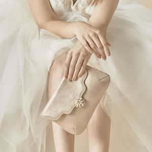 Star Silver Metallic Suede Handbag - wedding fashion