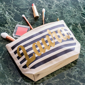 Personalised Stripe Make Up Case - birthday gifts