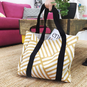 Hand Block Printed Mustard Tote Bag