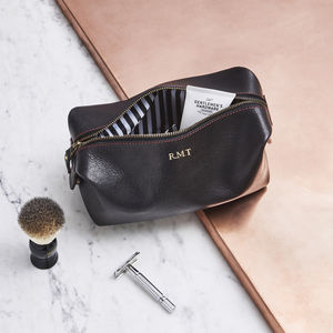 Classic Leather Wash Bag With Striped Lining