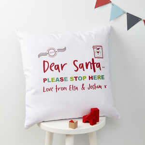 Personalised Christmas Santa Stop Here Cushion - cushions