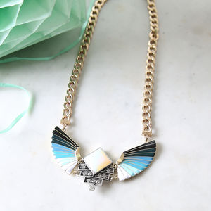Aquamarine Enamel Fan Necklace