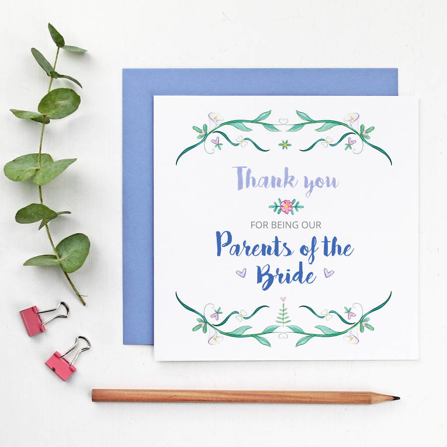 Parents Of The Bride Or Groom Thank You Card By Martha Brook
