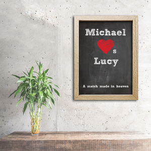 Personalised Love Chalkboard Print