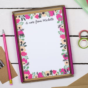 Personalised Fresh Floral Writing Set