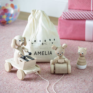 Personalised Toy Bag Bundle - gifts for babies