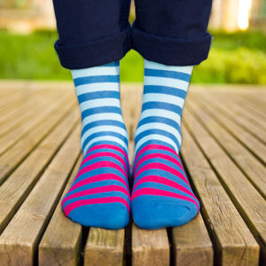 Colourful Blue And Pink Patterned Socks