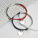 Personalised Charm and leather bangle with heart charms for Valentine's day