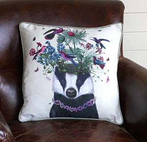 Woodland Badger Decorative Cushion - bedroom