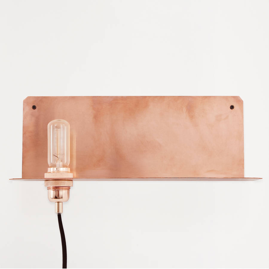 Wall Mounted Lamp With Shelf : wall mounted metal shelf lamp by lime lace notonthehighstreet.com
