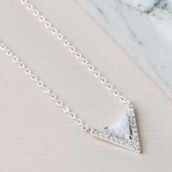 Silver Stone And Diamante Chevron Necklace