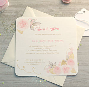 Gold And Pink Rose Wedding Invitations - wedding stationery