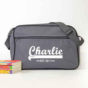 Personalised Grey Retro Shoulder Bag With Name - boys' bags & wallets