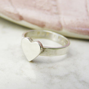 Personalised Chunky Silver Heart Ring - rings
