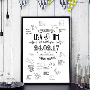 Personalised Guestbook Wedding Poster. Three Sizes - personalised