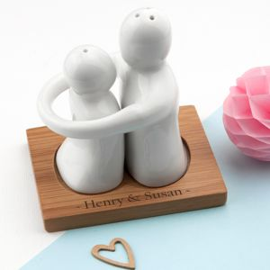 Personalised Hugging Couple Salt And Pepper Set - salt & pepper pots
