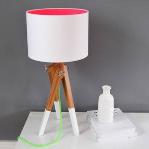 Neon Tripod Table Lamp Set Choice Of Colours - lamp bases & shades