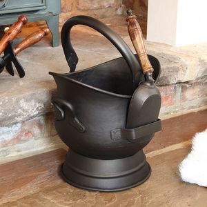Footed Antique Bronze Coal Bucket With Wooden Shovel - fireplace accessories