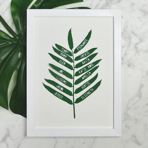 Personalised Family Tree Style Tropical Leaf Papercut