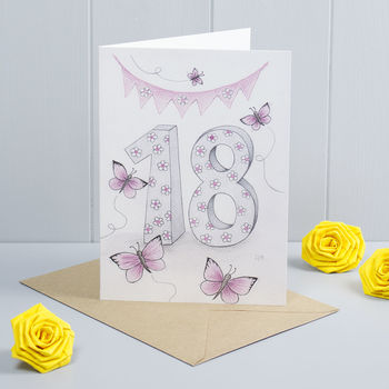 Happy 18th Birthday Greeting Card Butterflies