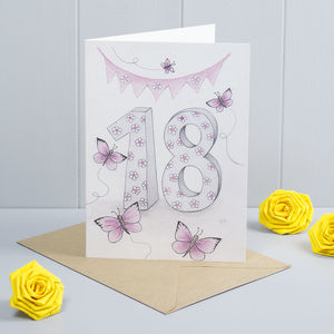 Happy 18th Birthday Greeting Card Butterflies - birthday cards