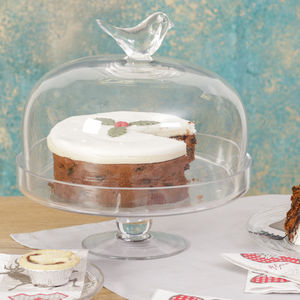 Glass Cake Stand With Bird Decoration