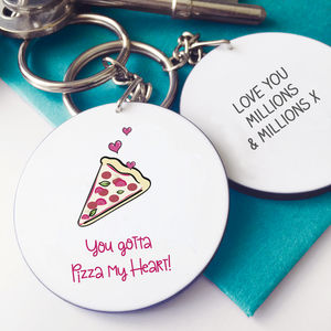 Pizza My Heart Valentine Keyring - women's accessories