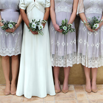 Bespoke Lace Bridesmaids Dresses In Ivory And Blush