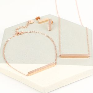 Rose Gold Horizontal Bar Jewellery Set - jewellery sets