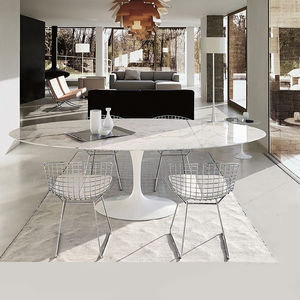 Circular Dining Table White, Marble Or Walnut Top - furniture