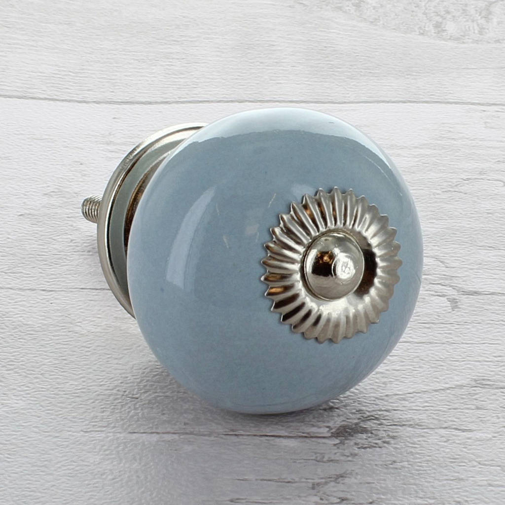 Grey Ceramic Door Knobs Cupboard Drawer Pull Handles