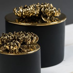 Gold And Black Petal Topped Storage Pot - view all sale items