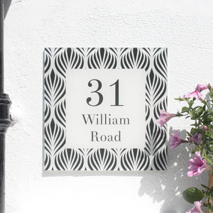 Personalised House Number Sign, Geometric Fleur