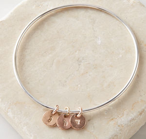Personalised Silver Bangle With Rose Gold Disc - bracelets & bangles
