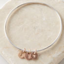 Personalised Silver Bangle With Rose Gold Disc