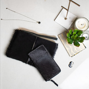 Black Pony Fur Leather Clutch And Purse Matching Set