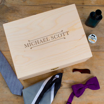 Personalised Wooden Jewellery Box For Him