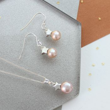 Pink Pearl Pendant And Earrings Set