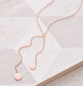 Double Circle Drop Necklace
