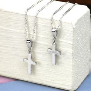 Personalised Solid Silver Cross Necklace - children's jewellery