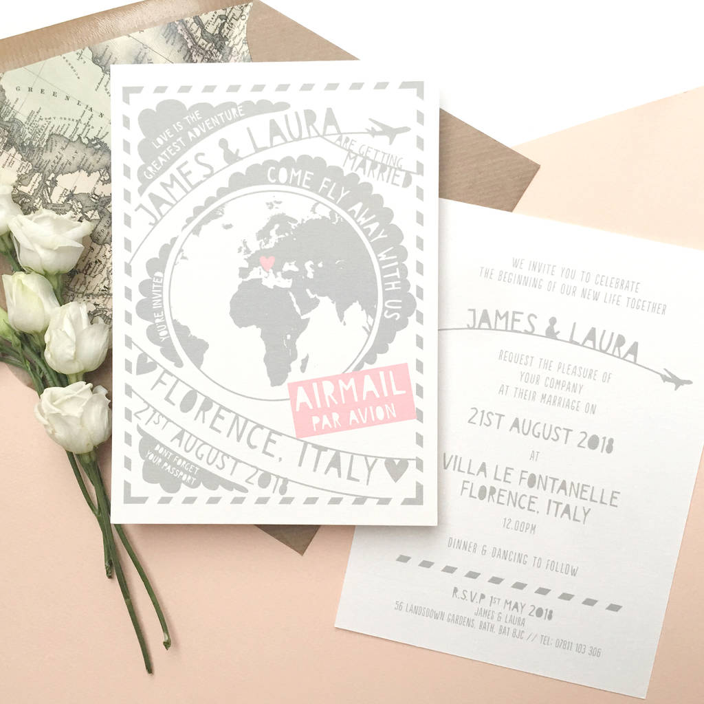 come fly away with us travel wedding invitation by ditsy chic