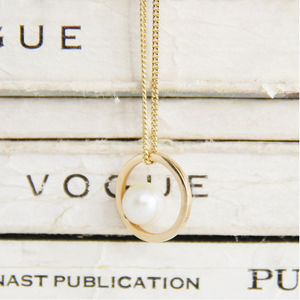 Gold And Pearl Halo Necklace - gold