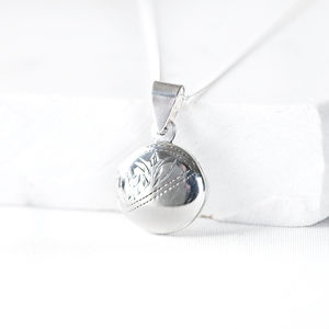 Round Silver Photo Locket - christening jewellery
