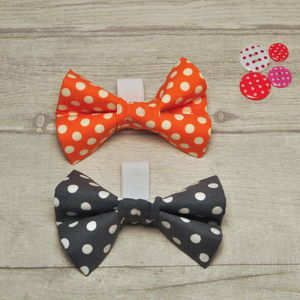 Slide On Collar Dog Bow In Orange Or Grey Polka Dot