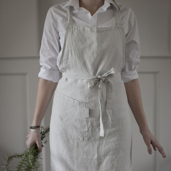 Dove Grey Linen Apron