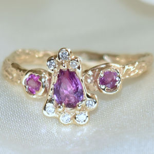 Gold Ring, Pink Sapphires And Diamonds