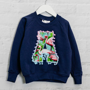 Personalised Kids Sweatshirt With Flamingo Print Letter - t-shirts & tops