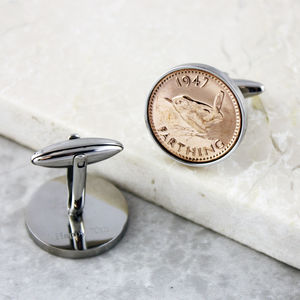Farthing 1947 70th Birthday Coin Cufflinks - men's accessories
