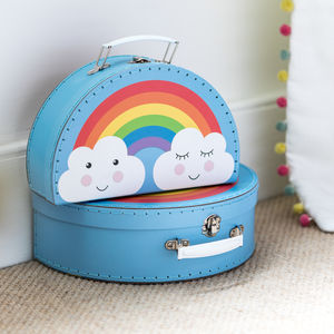 Set Of Two Rainbow And Clouds Mini Suitcases - baby's room